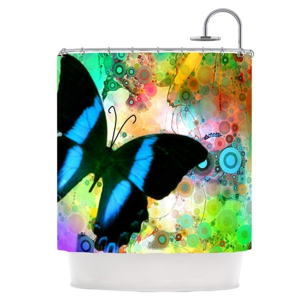 KESS InHouse alyZen Moonshadow Colorful Blue Multicolor Butterfly Shower Curtain (69x70)