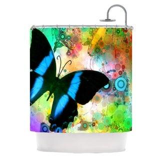 KESS InHouse alyZen Moonshadow Colorful Blue Multicolor Butterfly Shower Curtain (69x70)