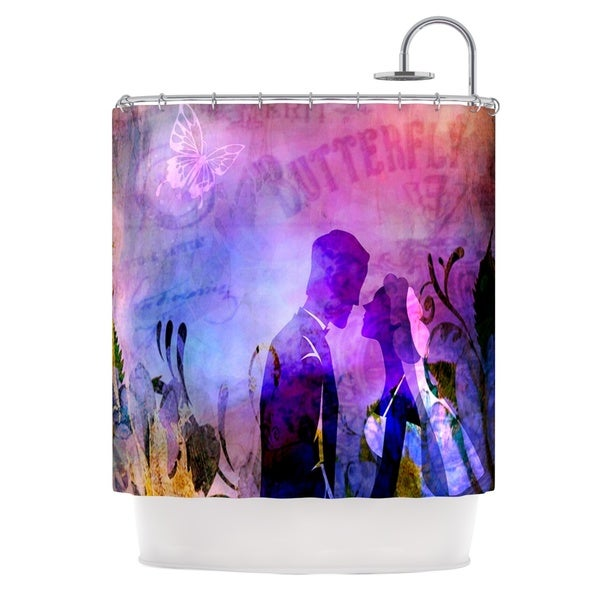 KESS InHouse alyZen Moonshadow Couple In Love Purple Pink Shower Curtain (69x70)