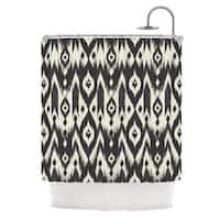 KESS InHouse Amanda Lane Black Cream Tribal Ikat Tan Dark Shower Curtain (69x70)