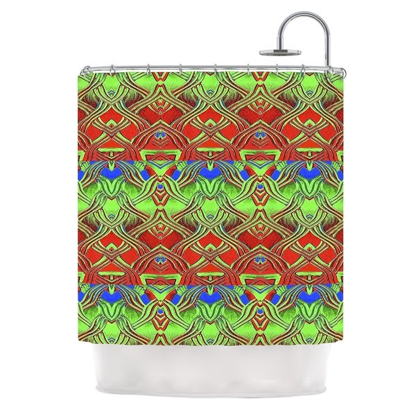 KESS InHouse Anne LaBrie Mystic Flow Green Red Shower Curtain (69x70)