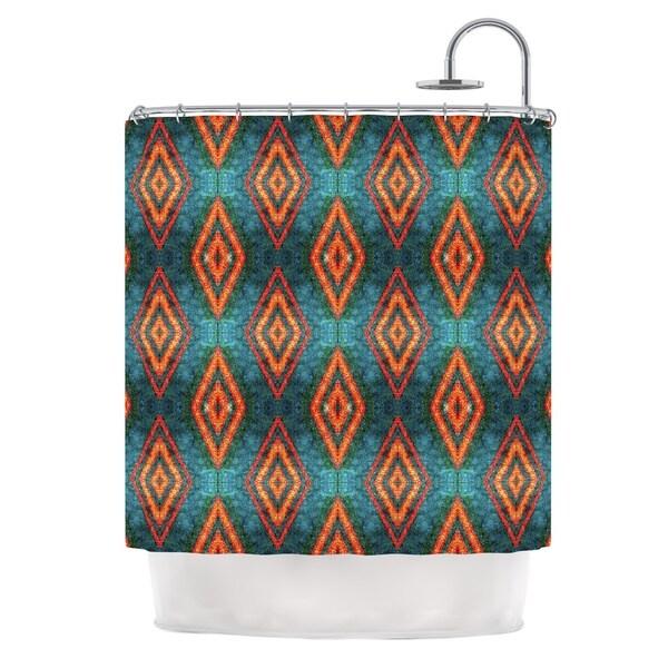 KESS InHouse Anne LaBrie Diamond Sea Blue Orange Shower Curtain (69x70)