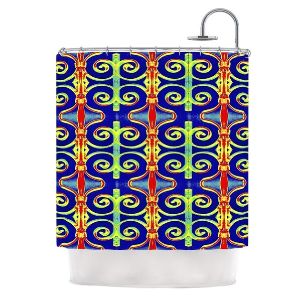 KESS InHouse Anne LaBrie Swirl Away Blue Red Shower Curtain (69x70)