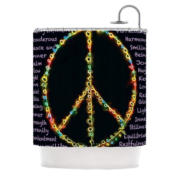 KESS InHouse Anne LaBrie Peaceful Meditation Black Rainbow Shower Curtain (69x70)