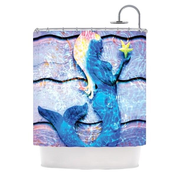 KESS InHouse Anne LaBrie Mermaid Starlight Aqua Blue Shower Curtain (69x70)
