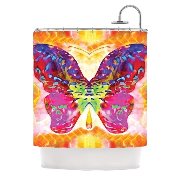 KESS InHouse Anne LaBrie Butterfly Spirit Pink Yellow Shower Curtain (69x70)