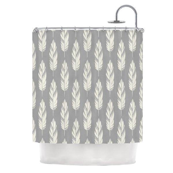 KESS InHouse Amanda Lane Feathers Gray Cream Grey Pattern Shower Curtain (69x70)