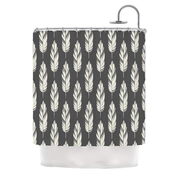 KESS InHouse Amanda Lane Feathers Black Cream Dark Pattern Shower Curtain (69x70)