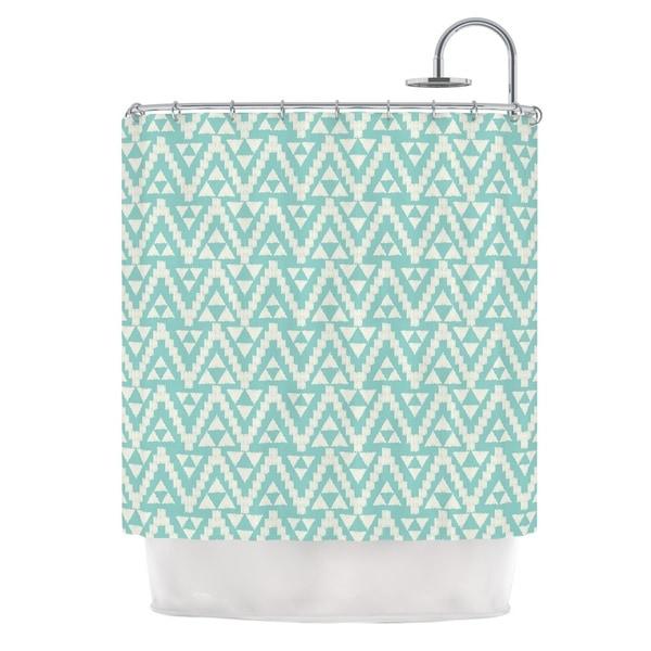 KESS InHouse Amanda Lane Geo Tribal Turquoise Sky Teal Aztec Shower Curtain (69x70)