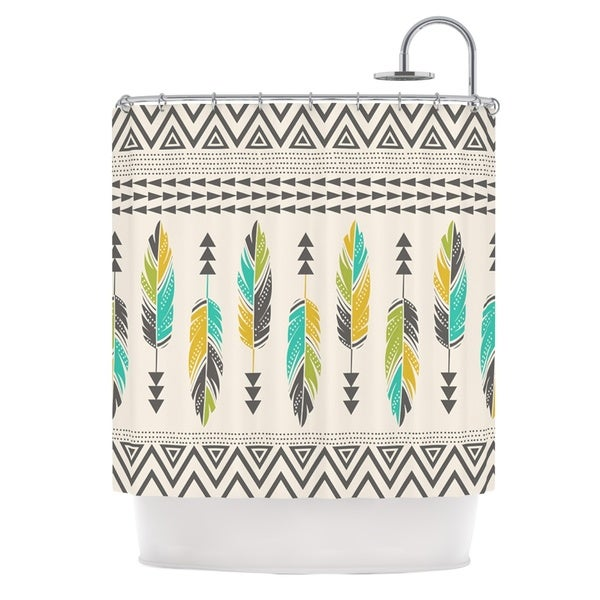 KESS InHouse Amanda Lane Painted Feathers Cream Tan Tribal Shower Curtain (69x70)