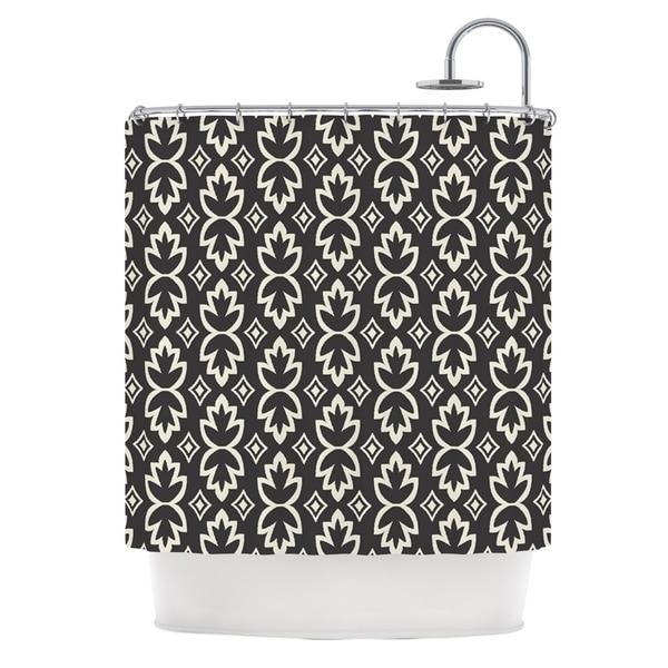 Shop KESS InHouse Amanda Lane Black Cream Bohemia Dark Pattern Shower Curtain 69x70