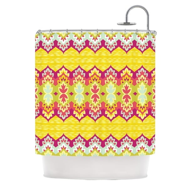 KESS InHouse Amanda Lane Bohemia Yellow Pink Shower Curtain (69x70)