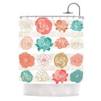 KESS InHouse Pellerina Design Flower Square Multicolor Floral Shower Curtain (69x70)