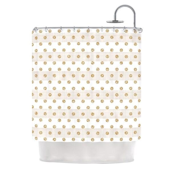 KESS InHouse Pellerina Design Linen Polka Stripes Gold Dots Shower Curtain 69x70