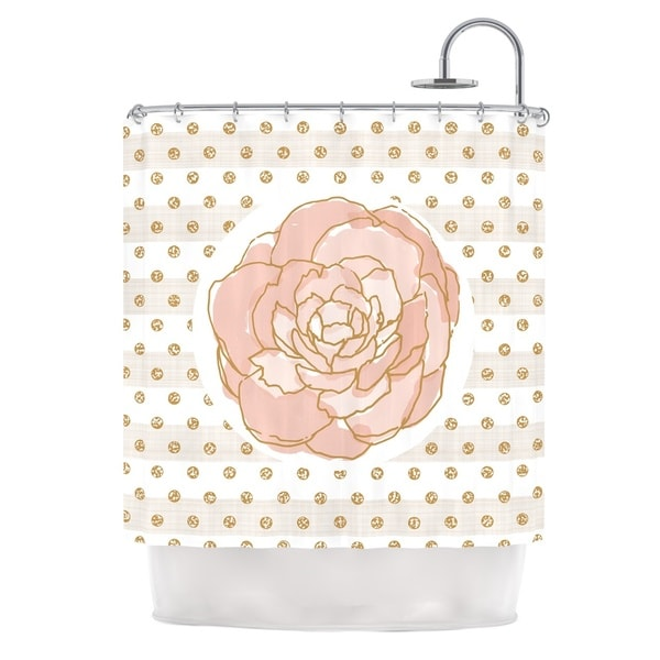 KESS InHouse Pellerina Design Watercolor Peony Pink Floral Shower Curtain (69x70)