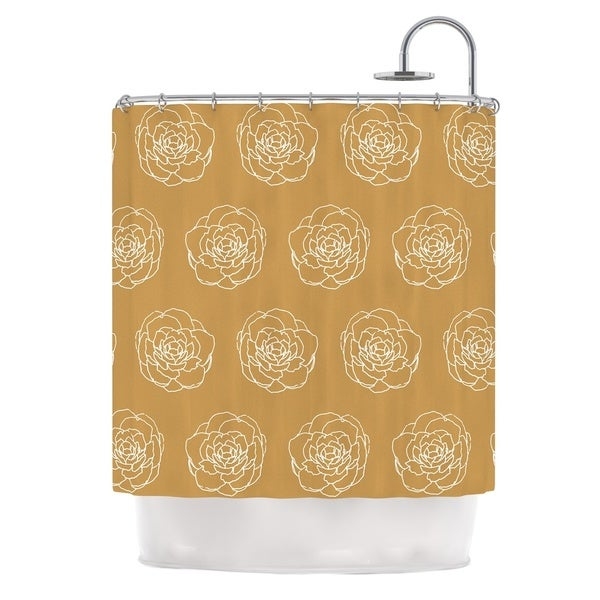KESS InHouse Pellerina Design Golden Peonies Yellow White Shower Curtain 69x70