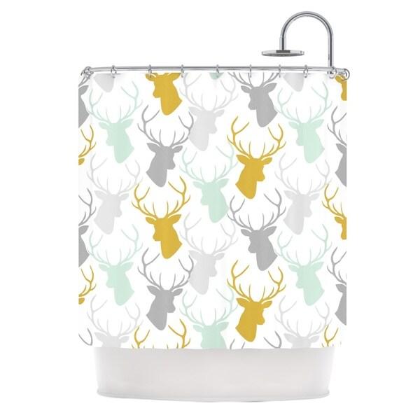 KESS InHouse Pellerina Design Scattered Deer White Gold Green Shower Curtain (69x70)