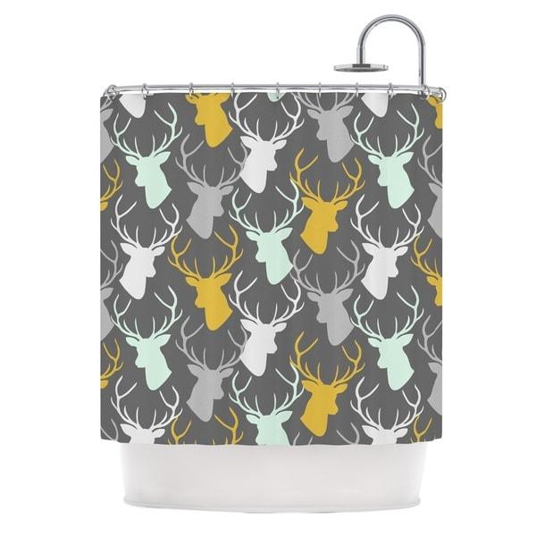 KESS InHouse Pellerina Design Scattered Deer Gray Shower Curtain (69x70)