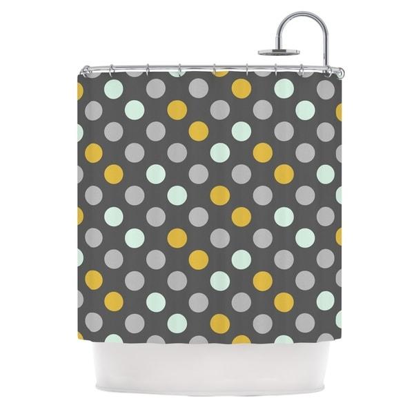 KESS InHouse Pellerina Design Minty Polka Gray Shower Curtain (69x70)