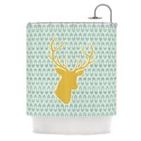 KESS InHouse Pellerina Design Golden Deer Yellow Green Shower Curtain (69x70)