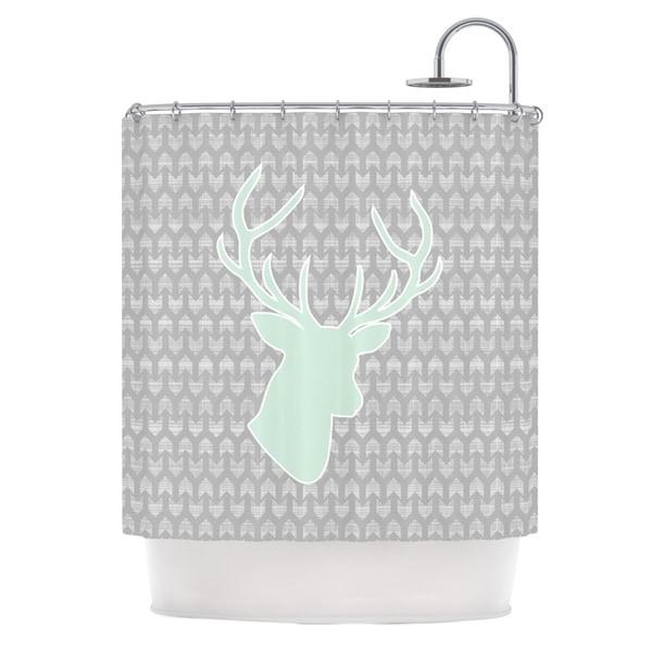 grey and green shower curtain. KESS InHouse Pellerina Design Winter Deer Gray Green Shower Curtain  69x70