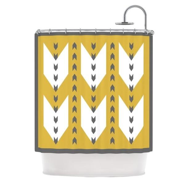 KESS InHouse Pellerina Design Golden Aztec Yellow White Shower Curtain (69x70)