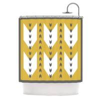 KESS InHouse Pellerina Design Golden Aztec Yellow White Shower Curtain (69x70)