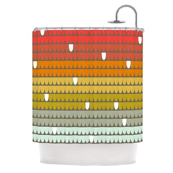 KESS InHouse Pellerina Design Rainbow Scallops Red Orange Shower Curtain (69x70)