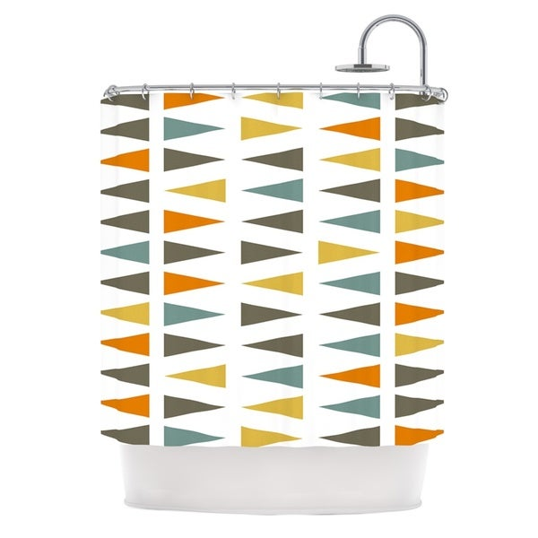 KESS InHouse Pellerina Design Stacked Geo White Triangles Shower Curtain (69x70)