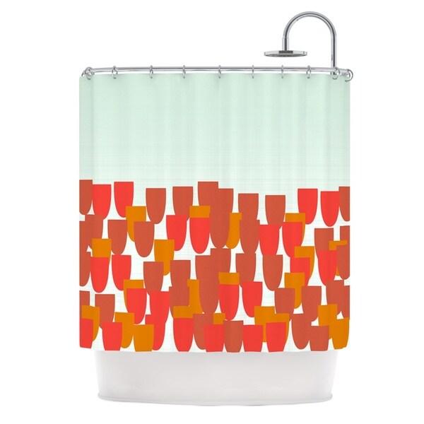 KESS InHouse Pellerina Design Sunrise Poppies Red Aqua Shower Curtain (69x70)