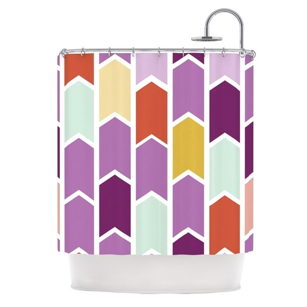 KESS InHouse Pellerina Design Orchid Geometric Chevron Purple Arrows Shower Curtain (69x70)
