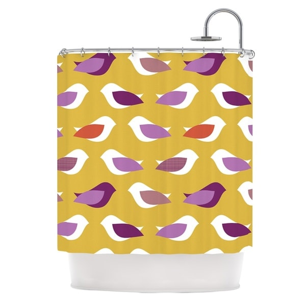 KESS InHouse Pellerina Design Golden Orchid Birds Yellow Purple Shower Curtain (69x70)