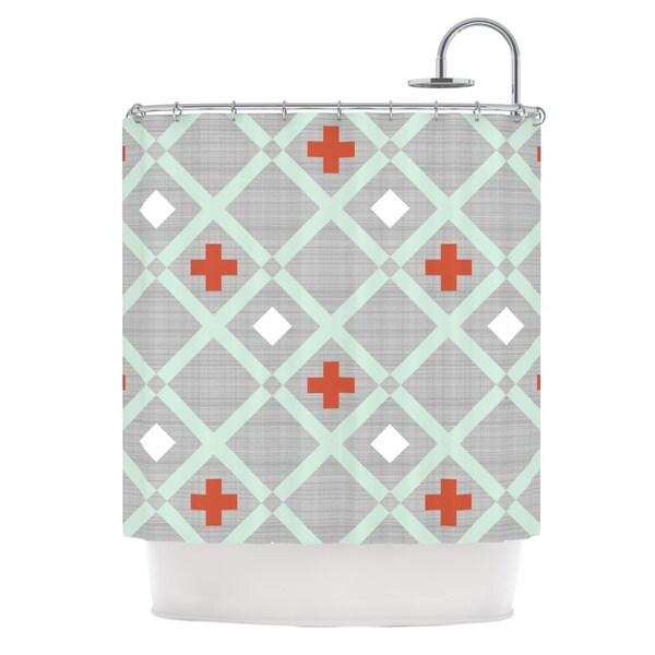 KESS InHouse Pellerina Design Mint Lattice Weave Gray Mint Shower Curtain (69x70)