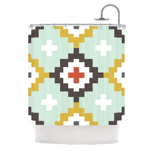 KESS InHouse Pellerina Design Gold Mint Moroccan Diamonds Yellow Green Shower Curtain (69x70)