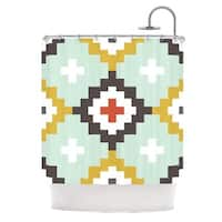 KESS InHouse Pellerina Design Gold Mint Moroccan Diamonds Yellow Green Shower Curtain (69x70)