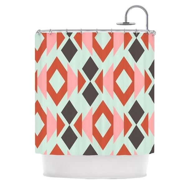 KESS InHouse Pellerina Design Coral Mint Triangle Weave Orange Teal Shower Curtain (69x70)
