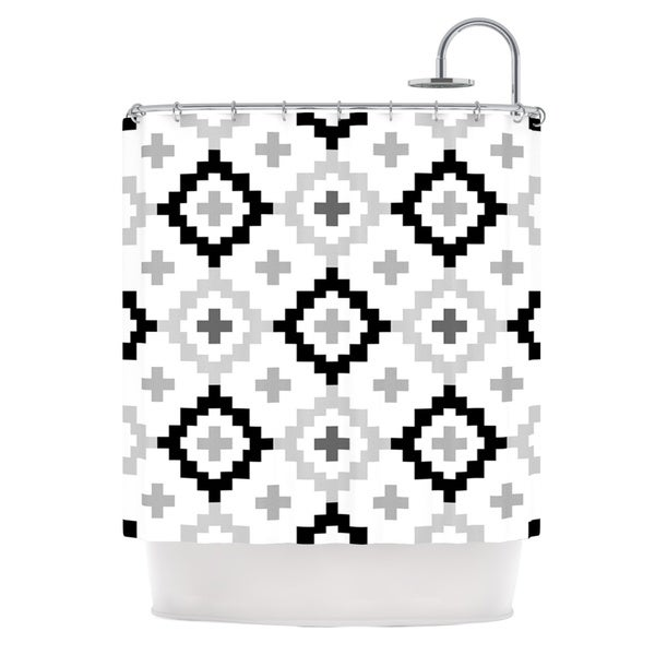 Shop KESS InHouse Pellerina Design Black White Moroccan Grey Geometric Shower Curtain 69x70