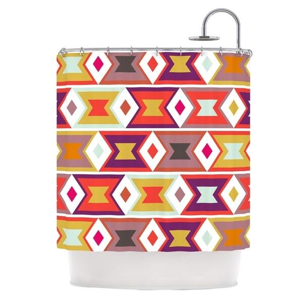 KESS InHouse Pellerina Design Aztec Weave Orange Purple Shower Curtain (69x70)