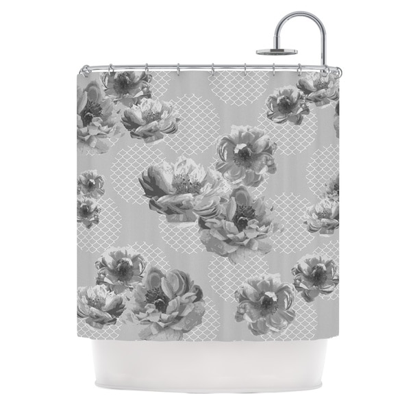 KESS InHouse Pellerina Design Lace Peony in Gray Grey Floral Shower Curtain (69x70)