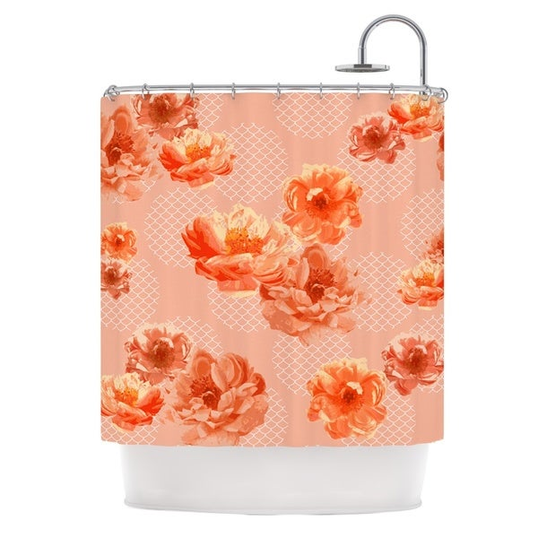 KESS InHouse Pellerina Design Lace Peony Orange Floral Shower Curtain (69x70)