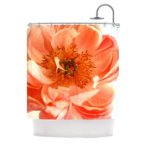 KESS InHouse Pellerina Design Blushing Peony Coral White Shower Curtain (69x70)