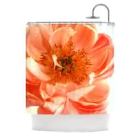 KESS InHouse Pellerina Design Blushing Peony Coral White Shower Curtain (69x70)