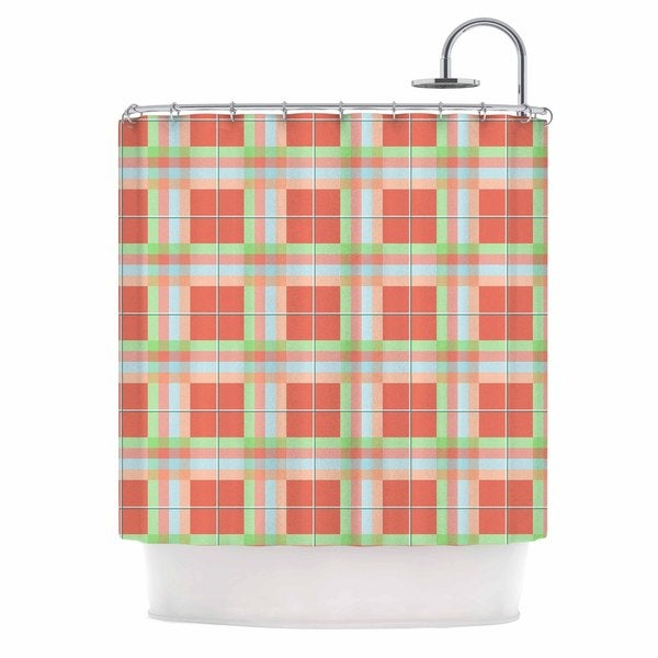 KESS InHouse afe images Summer Plaid Pattern Coral Pattern Shower Curtain (69x70)