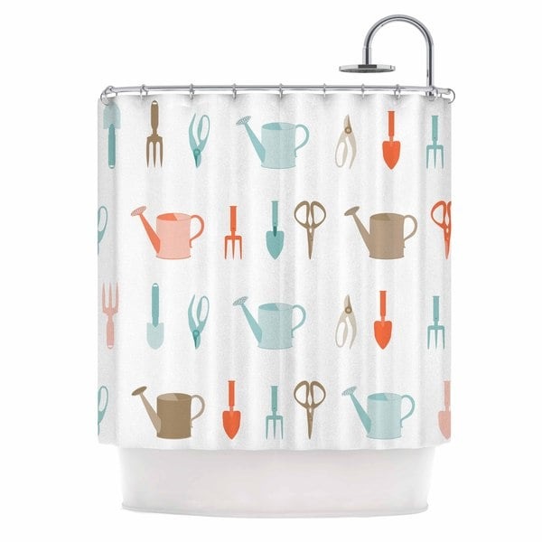 KESS InHouse afe images Gardening Tools Pattern Teal Abstract Shower Curtain (69x70)