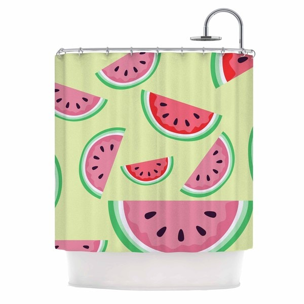KESS InHouse afe images Watermelon Background Pink Food Shower Curtain (69x70)