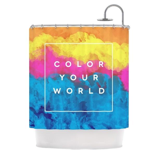 KESS InHouse Galaxy Eyes Color Your World Rainbow Paint Shower Curtain (69x70)