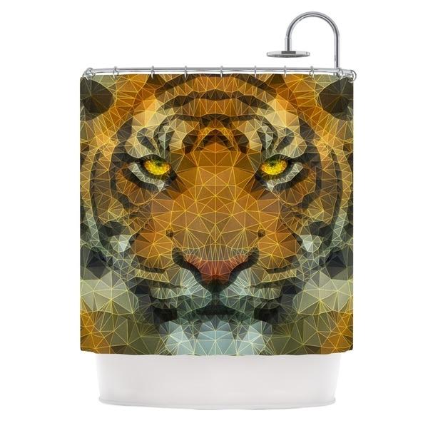KESS InHouse Ancello Be Wild Orange Geometric Shower Curtain (69x70)