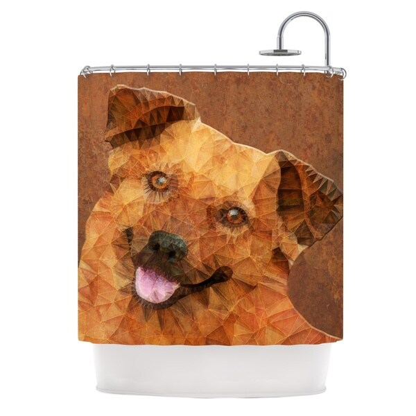 KESS InHouse Ancello Abstract Puppy Brown Geometric Shower Curtain (69x70)