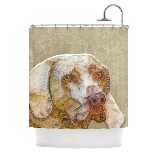 KESS InHouse Ancello Abstract Dog Brown Geometric Shower Curtain (69x70)