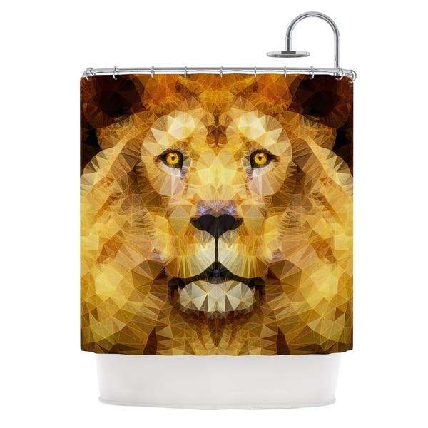 KESS InHouse Ancello Lion King Yellow Brown Shower Curtain (69x70)